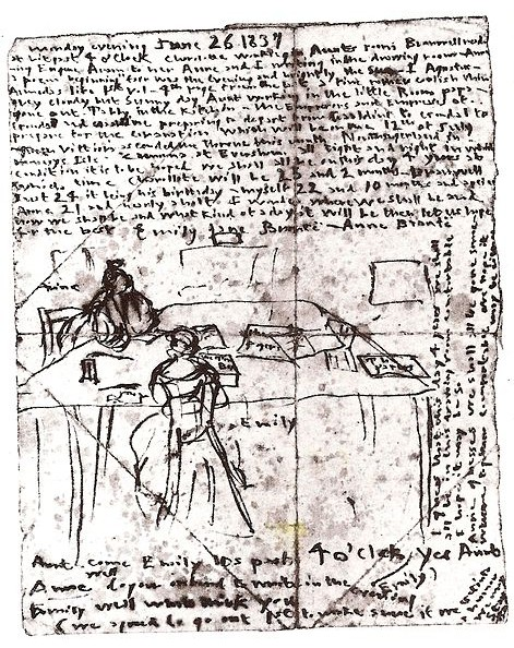 Sketch_by_Emily_Brontë_sgowing_herself_and_Anne_at_work_in_the_dining_room_of_the_parsonage.