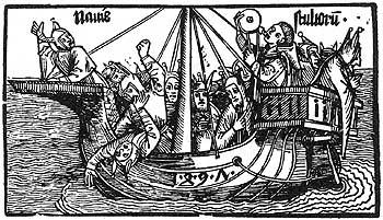Illustration par Albrecht Dürer de la couverture de La Nef des fous de Sébastien Brant, 1494
