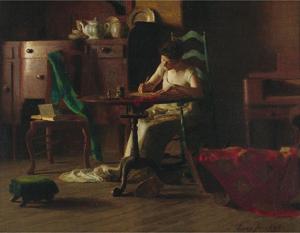 Thomas_P._Anshutz_-_Woman_writting_on_a_table