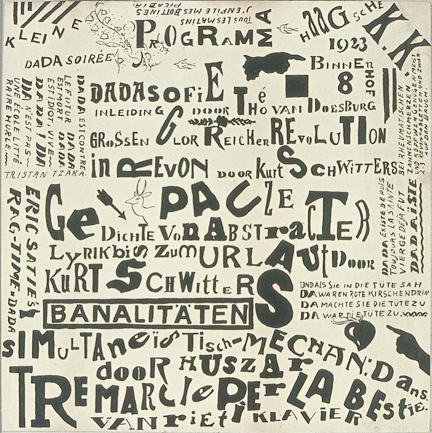 Poster Kleine Dadasoirée Haagsche K.K., Proof